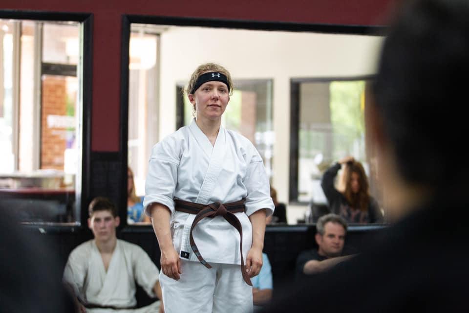 Dena at Her Black Belt Test