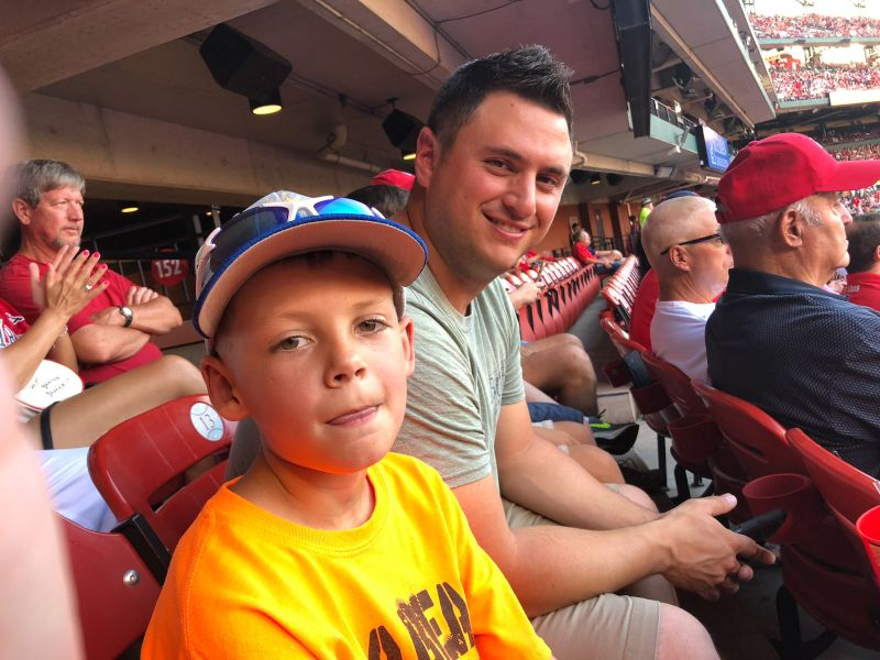 Justin & Our Nephew at a Baseball Game