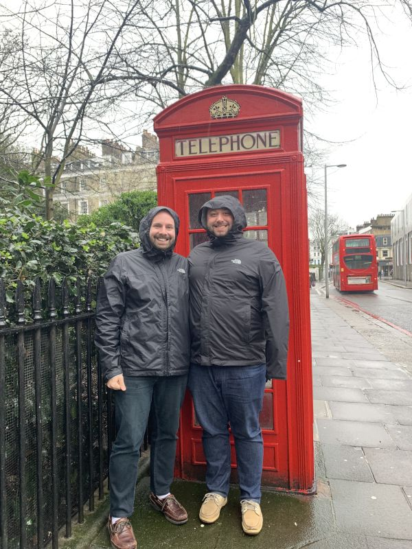 Stranded in Classic London Rain in Front of a Classic London Phonebooth!