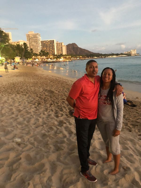 Enjoying Our Evening on the Honolulu Beach
