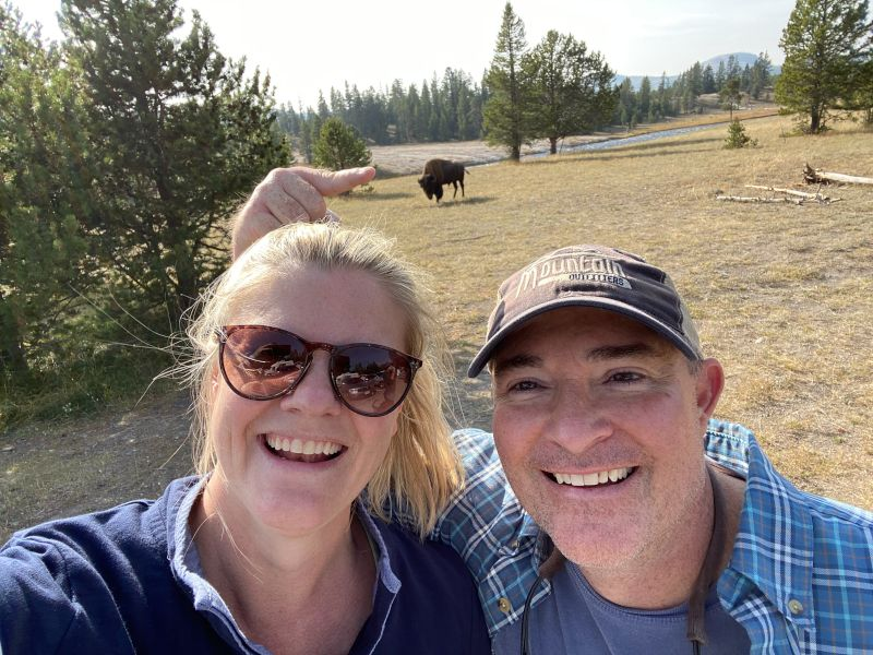 With Buffalo at Yellowstone National Park