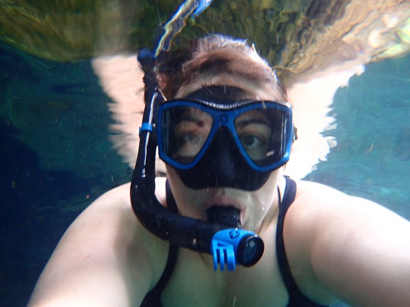 Amy Snorkeling in an Underground Cave in Mexico