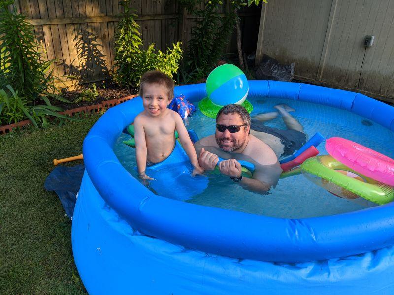 Backyard Pool Time With Dad