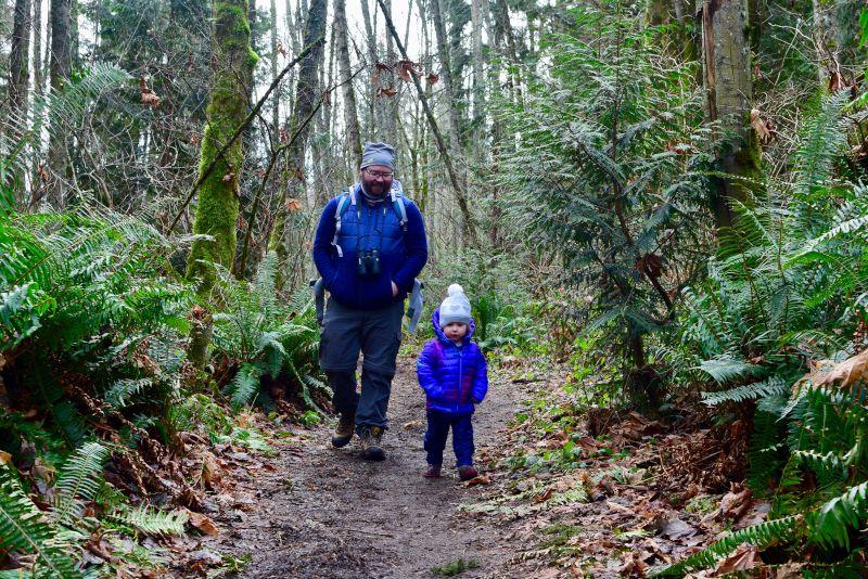 Enjoying a Hike in the Woods