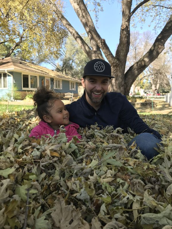Playing in the Leaves With Our Niece
