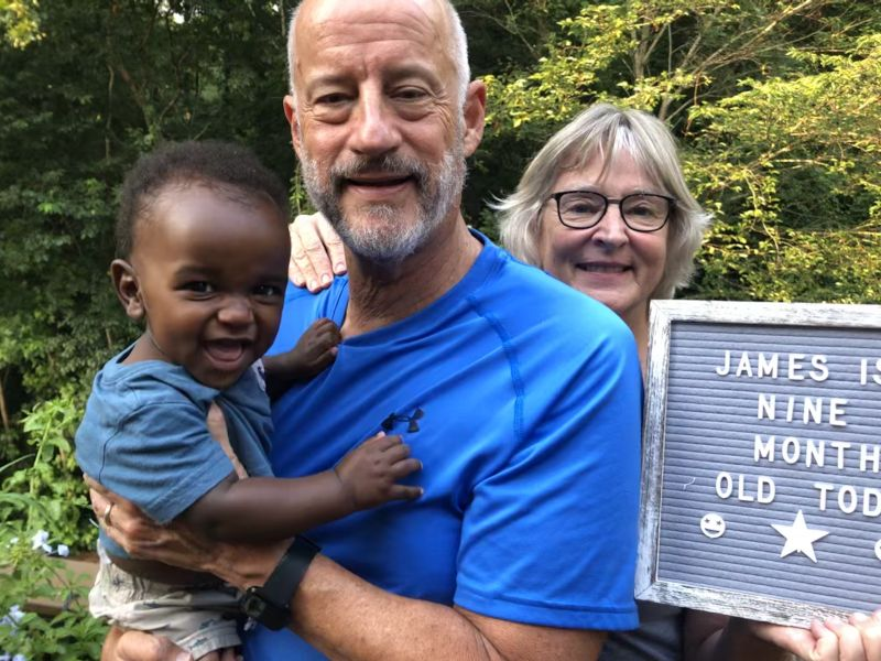 James Turns Nine-Months-Old with Grandparents
