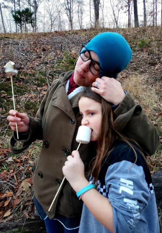 Jamie & Our Niece Enjoying Some Giant Marshmallows!