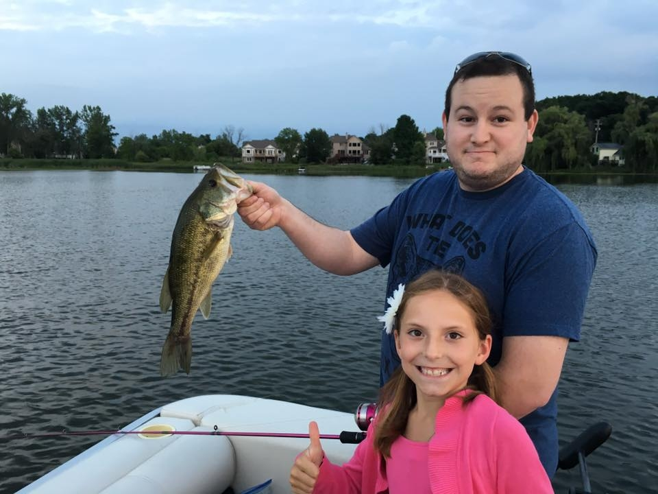 Josh Catching a Bass With Our Niece
