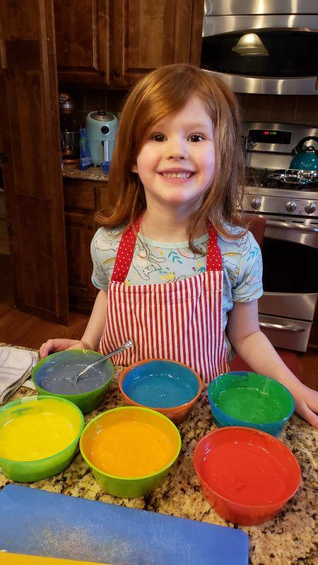 Baking a Rainbow Cake With Hazel