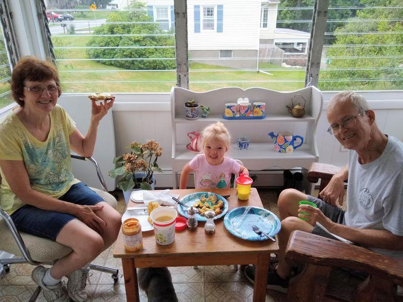 Porch Breakfast with Grandma and Grandpa