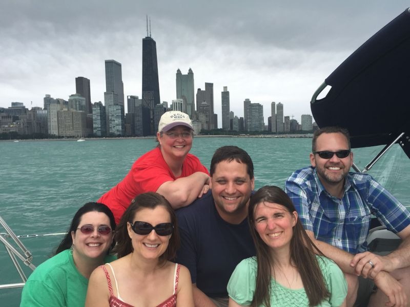 Celebrating Matt's Birthday on Lake Michigan