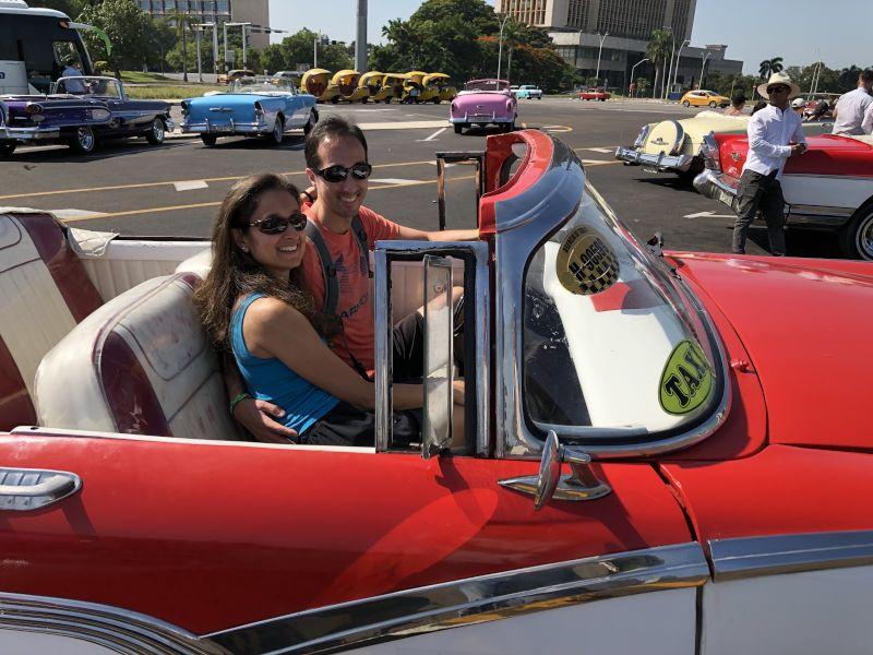 Riding in a Classic Car in Cuba