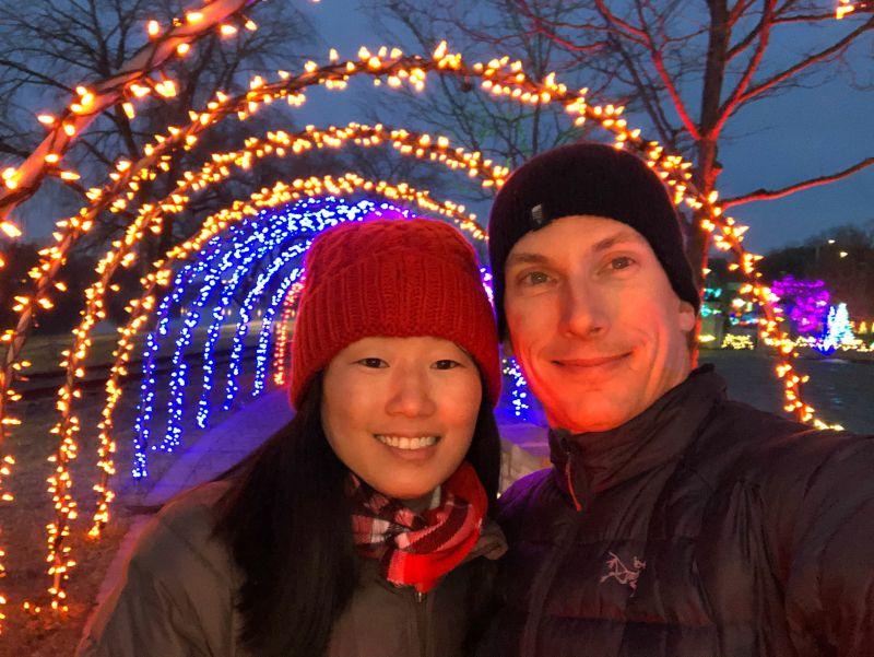 Visiting a Holiday Lights Display at Christmas