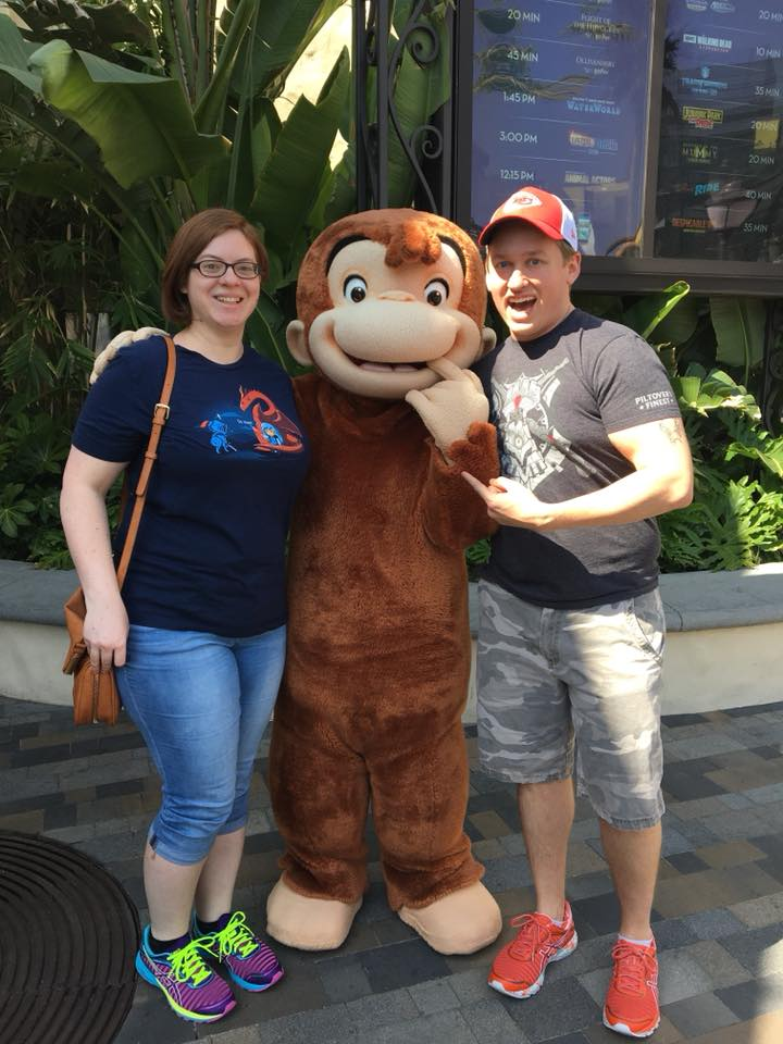 With Curious George at Universal Studios