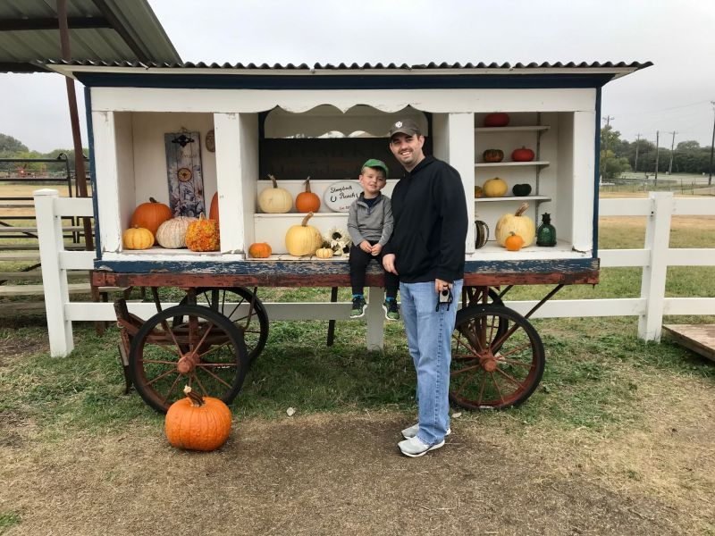 Enjoying the Day at a Local  Pumpkin Patch in Texas