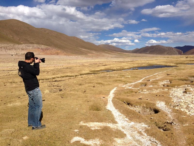 Glenn Taking a Picture in South America