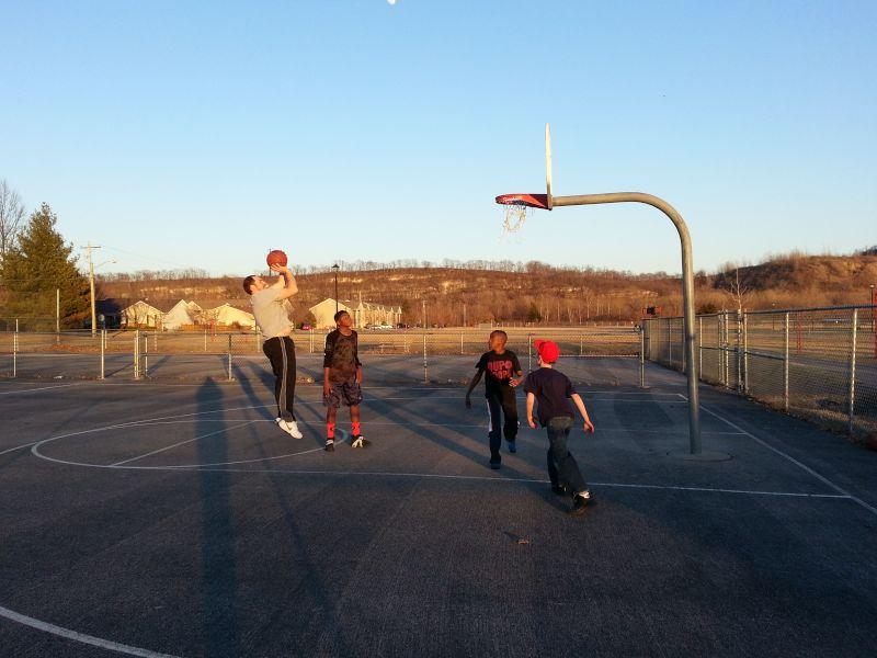 Pete Playing Basketball With Some Neighborhood Kids