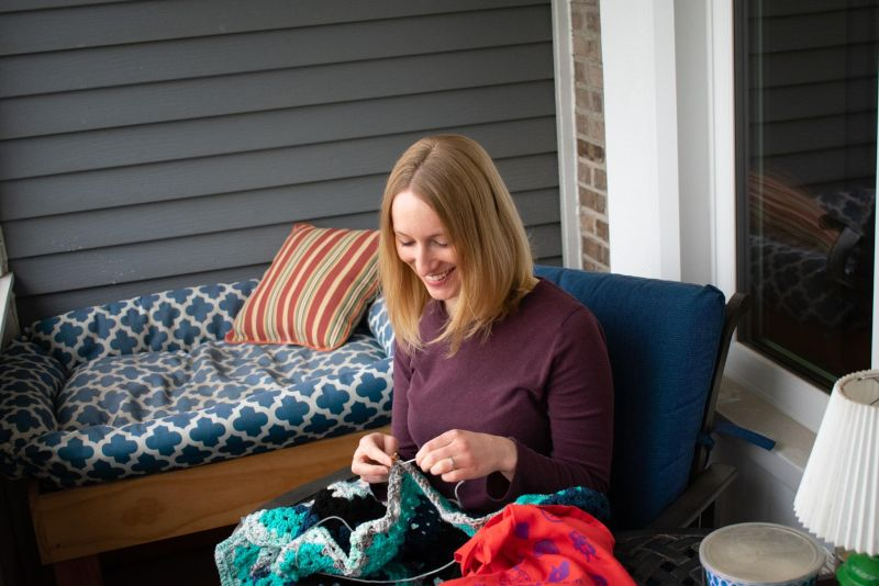 Knitting on the Front Porch