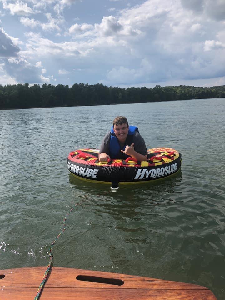 Shaun Tubing at the Lake