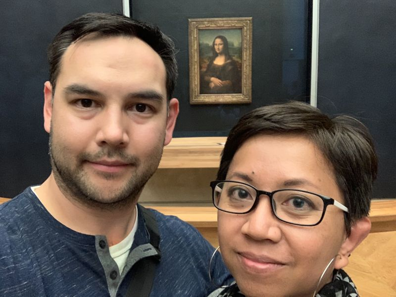 With Mona Lisa at the Louvre